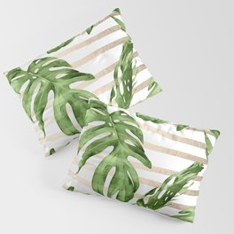 Simply Tropical White Gold Sands Stripes and Palm Leaves Pillow Sham