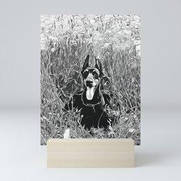 doberman dog red flowers meadow vector art black white Mini Art Print