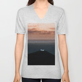 Lonely House by the Sea during Sunset - Landscape Photography Unisex V-Neck