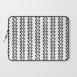 Linocut abstract minimal chevron pattern basic black and white decor Laptop Sleeve