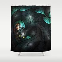 hiccup Shower Curtains featuring The Alpha by Mandie Manzano
