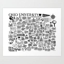 Ohio University Map Art Print