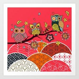 Happy Owls Art Print