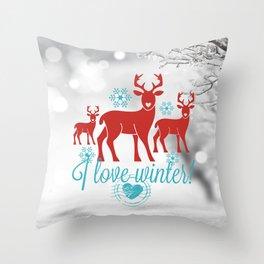 Vintage deers. I love winter! Throw Pillow