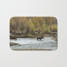 Moose Mid-Stream - Grand Tetons Bath Mat