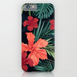 Tropical pattern, Hibiscus and Monstera iPhone Case
