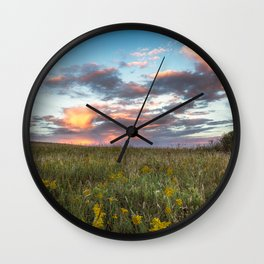 Prairie Fire - Fiery Sky at Sunset in Oklahoma Wall Clock