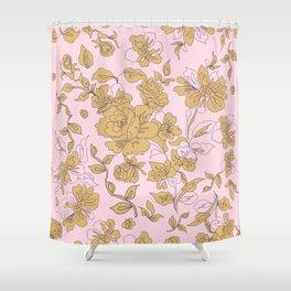 Mustard Pink Vintage Floral Shower Curtain