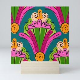 Hand-Drawn Deco Fan in Gelati Brights (Pattern) Mini Art Print