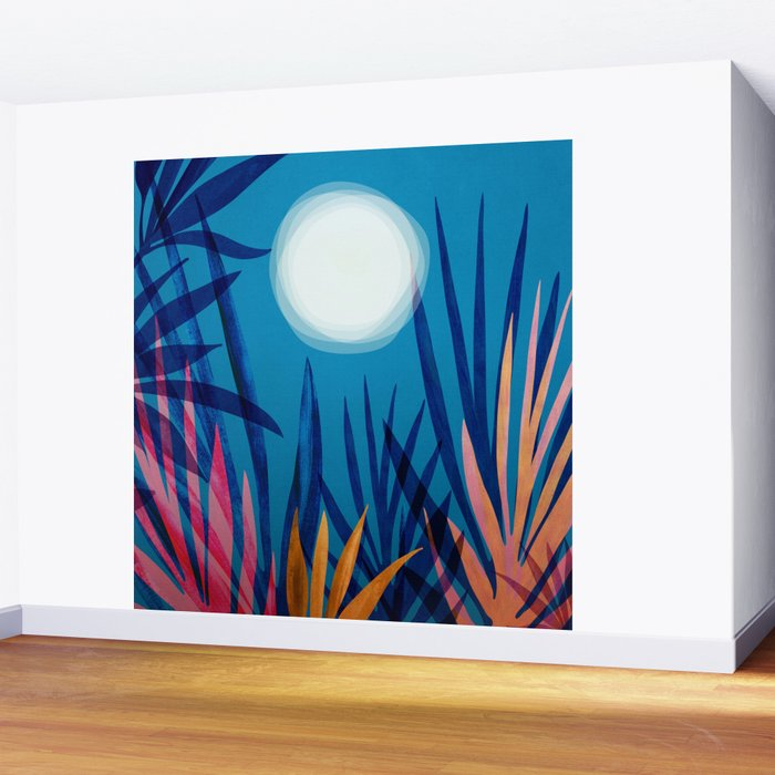 Tropical Moon / Landscape Illustration Wall Mural