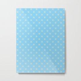 Cream Yellow on Baby Blue Snowflakes Metal Print