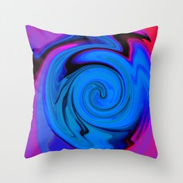 Swirl Abstract Pink Blue Neon  Throw Pillow
