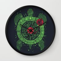 springsteen Wall Clocks featuring On Turtle BPM by Sitchko