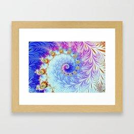 Pink Ice Spiral Fractal Framed Art Print