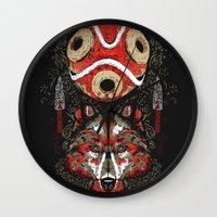 mononoke Wall Clocks featuring Mononoke Totem by Frederick Hoffman