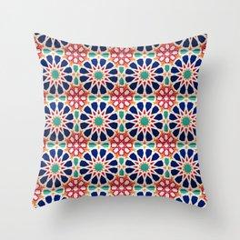 -A21- Traditional Colored Moroccan Mandala Artwork. Throw Pillow