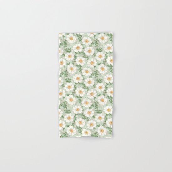 Sage pastel white green flowers blossom garden summer spring nature pattern painting florals Hand & Bath Towel