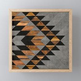 Urban Tribal Pattern No.10 - Aztec - Concrete and Wood Framed Mini Art Print