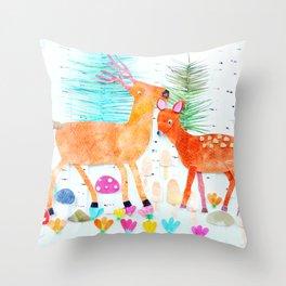 Deer in Woods  Throw Pillow