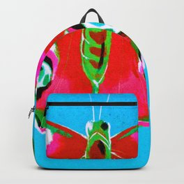 Pink and Green Butterfly on Blue Background Backpack