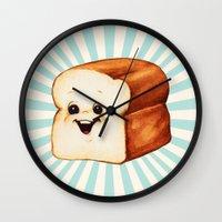 bread Wall Clocks featuring Bread by Kelly Gilleran