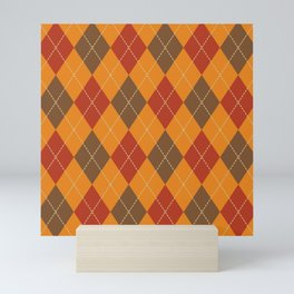 Traditional Orange Red and Black Argyle Plaid Print Mini Art Print