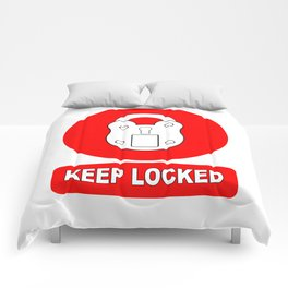 Keep Locked Padlock Sign Comforters