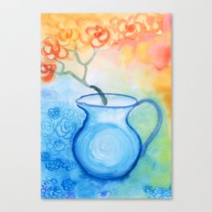 Cherry flowers in the blue jug Canvas Print