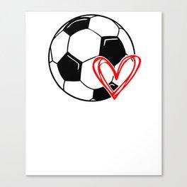 Love Soccer Heart Canvas Print