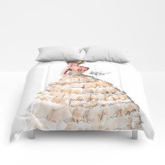 Fashion Watercolor Couture Gown Comforters