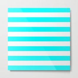 Horizontal Stripes (Aqua Cyan/White) Metal Print