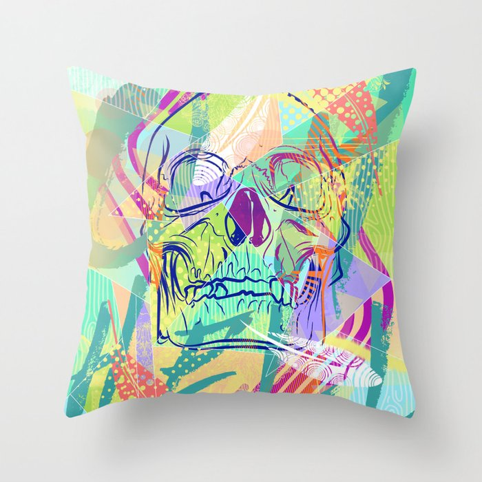 Oh Hell Sherbert Skull Throw Pillow