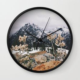Mountains + Flowers Wall Clock