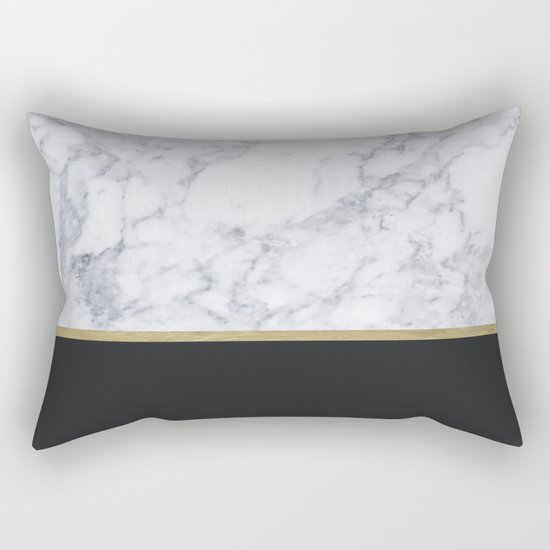 MARBLE GOLD BLACK Rectangular Pillow