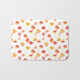 Watercolor Nasturtiums Bath Mat
