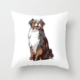 Australia Sheperd Dog Illustration Throw Pillow
