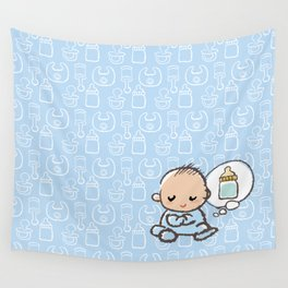 Baby boy Thinking of Milk Wall Tapestry