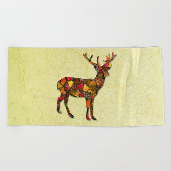 Animal Mosaic - The Deer Beach Towel