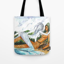 PNW Fishnets - Earth and Sky Goddess Kiss Painting Tote Bag