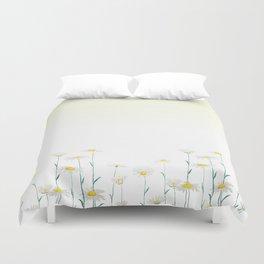 white daisy watercolor horizontal Duvet Cover