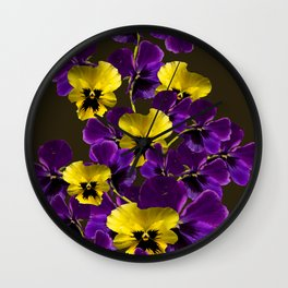 Purple And Yellow Flowers On A Dark Background #decor #buyart #society6 Wall Clock