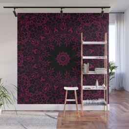 Star Of The East Mandala With Siren Red Color & Black Backdrop Wall Mural