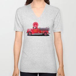 Vintage Fire Truck - Classic Americana Unisex V-Neck