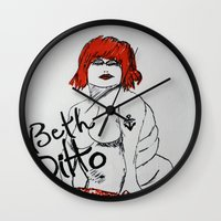 beth hoeckel Wall Clocks featuring The Gossip Beth Ditto Illustration by James Peart