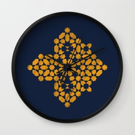 Zellige - blue and yellow Wall Clock