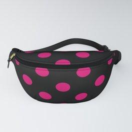 XX Large Dark Hot Pink Polka Dots on Black Fanny Pack