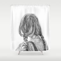 backpack Shower Curtains featuring Wanderer by Lucy Schmidt Art