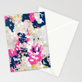 Michel - Abstract, girly, trendy art with pink, navy, blush, mustard for cell phones, dorm decor etc Stationery Cards