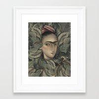frida kahlo Framed Art Prints featuring Frida Kahlo by Antonio Lorente