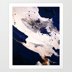 Indigo, Gold, Black, Blue, and White Fluid Acrylic Abstract Painting Art Print